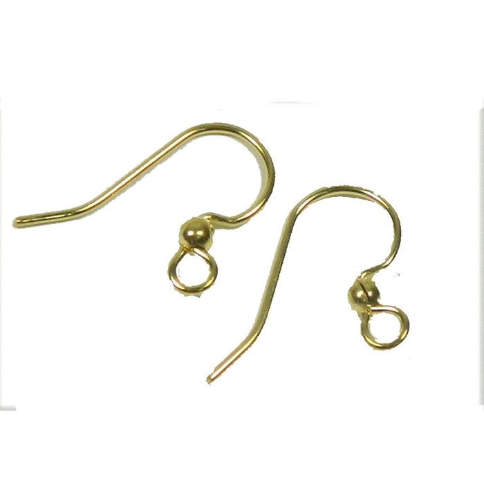 200 Small Earwires 12mm Surgical Steel Earring Hypoallergenic Shiny Gold Plated Fishhook Ball 100 Pairs 200