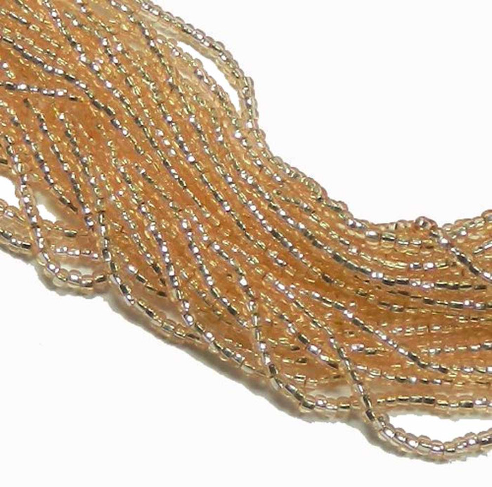 Chanpagne Silver Lined Czech 8/0 Glass Seed Beads 12 Strand Hank Preciosa