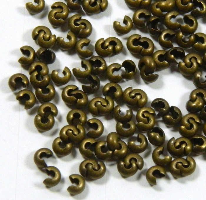 200 4mm Crimp and Knot Covers Antiqued Brass/gold Plated Brass Jewelry Findings