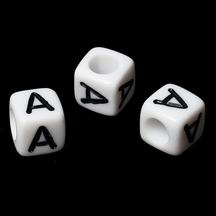 """100 Letter """"A"""" Black on White Acrylic Alphabet Cube Spacer Beads 6mm Approx 1/4 Inch"""