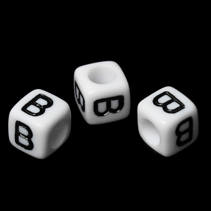 """100 Letter """"B"""" Black on White Acrylic Alphabet Cube Spacer Beads 6mm Approx 1/4 Inch"""