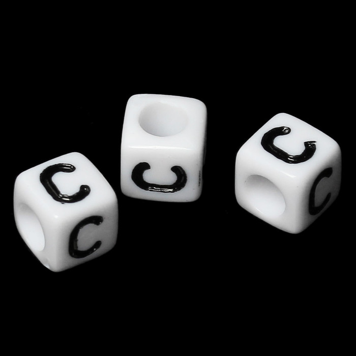"""100 Letter """"C"""" Black on White Acrylic Alphabet Cube Spacer Beads 6mm Approx 1/4 Inch"""