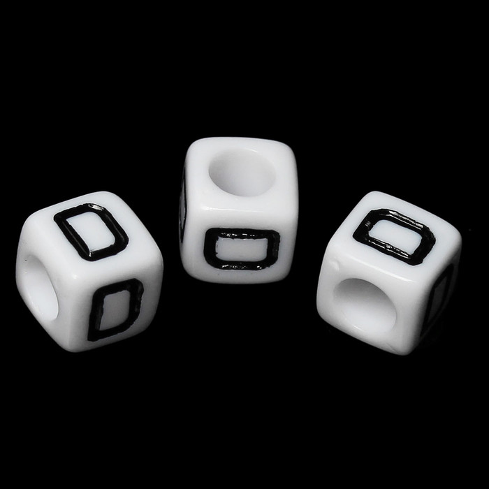 "100 Letter ""D"" Black on White Acrylic Alphabet Cube Spacer Beads 6mm Approx 1/4 Inch"