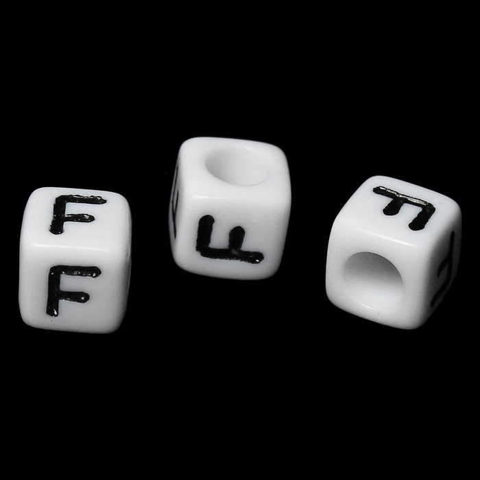 """100 Letter """"F"""" Black on White Acrylic Alphabet Cube Spacer Beads 6mm Approx 1/4 Inch"""