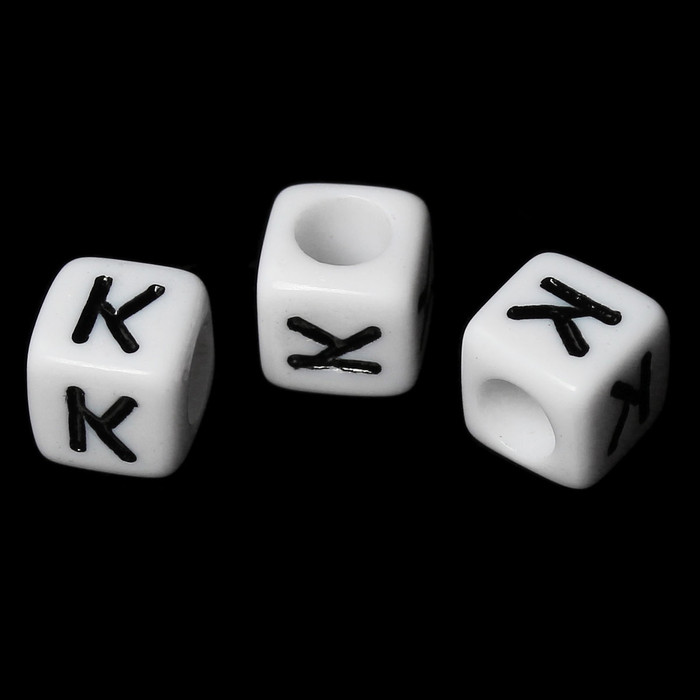 "100 Letter ""K"" Black on White Acrylic Alphabet Cube Spacer Beads 6mm Approx 1/4 Inch"