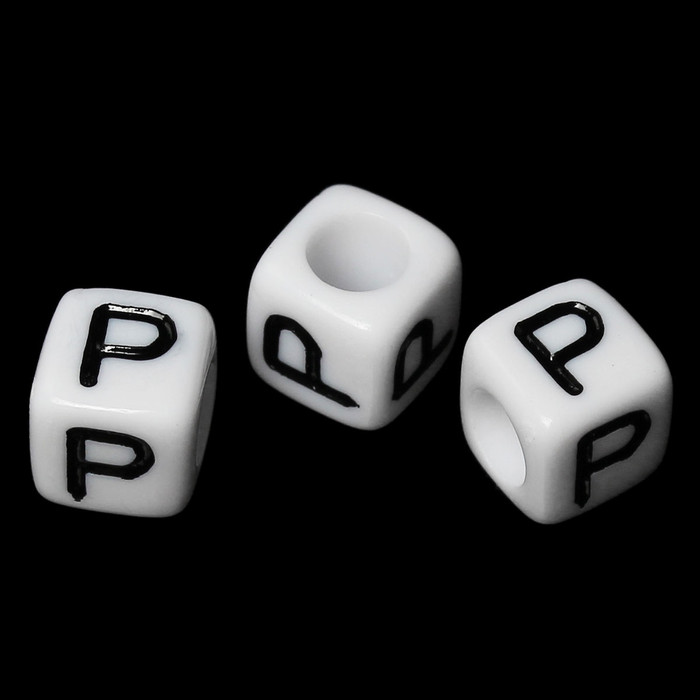 """100 Letter """"P"""" Black on White Acrylic Alphabet Cube Spacer Beads 6mm Approx 1/4 Inch"""