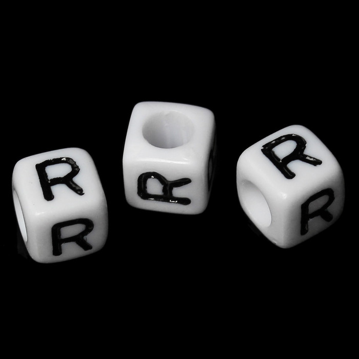 """100 Letter """"R"""" Black on White Acrylic Alphabet Cube Spacer Beads 6mm Approx 1/4 Inch"""