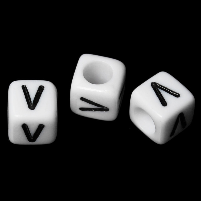 "100 Letter ""V"" Black on White Acrylic Alphabet Cube Spacer Beads 6mm Approx 1/4 Inch"