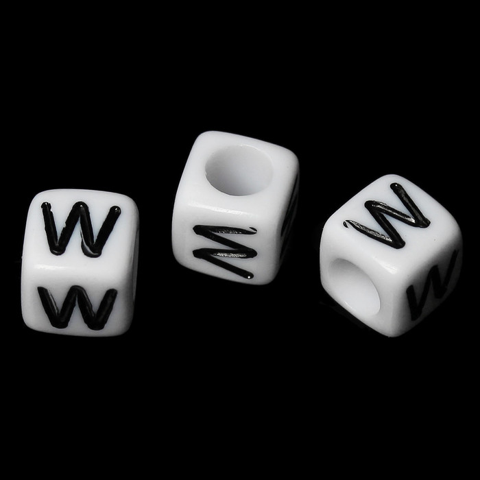 """100 Letter """"W"""" Black on White Acrylic Alphabet Cube Spacer Beads 6mm Approx 1/4 Inch"""