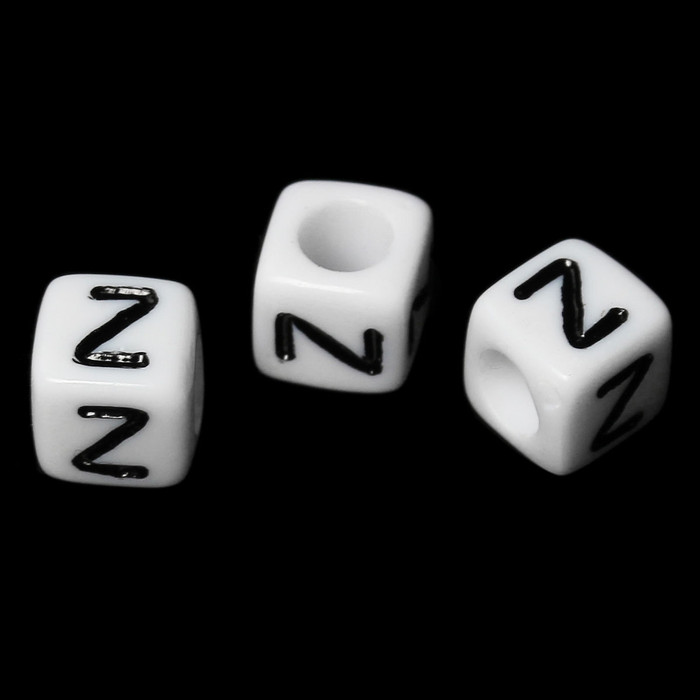 """100 Letter """"Z"""" Black on White Acrylic Alphabet Cube Spacer Beads 6mm Approx 1/4 Inch"""