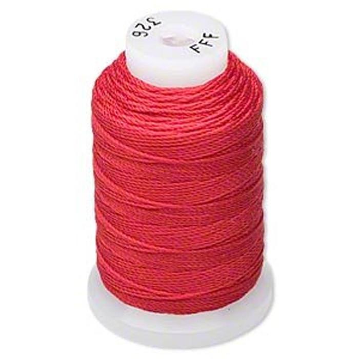 Silk Beading Thread Cord Size FFF (0.016 Inch 0.42mm) Spool 92 Yd(Red)