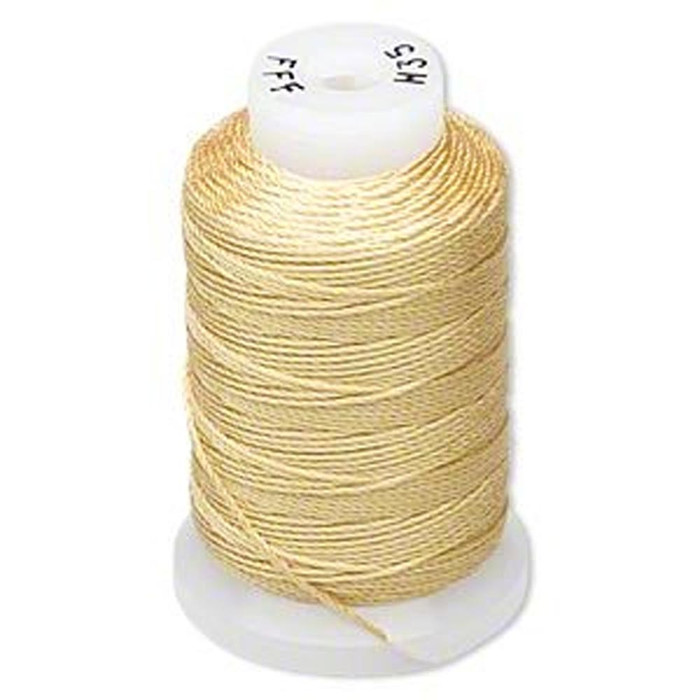 Silk Beading Thread Cord Size FFF (0.016 Inch 0.42mm) Spool 92 Yd(Gold)