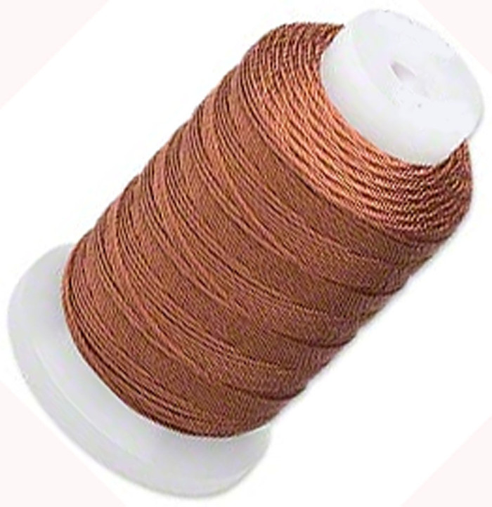 Simply Silk Beading Thick Thread Cord Size FFF (0.016 Inch 0.42mm) Spool 92 Yards Compatible with Kumihimo Super Lon (Brown)