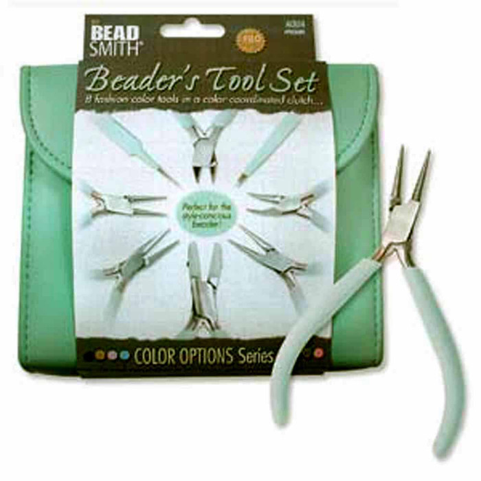 Beadsmith 8 Fashion Aqua Green Color Tool Set for Making +Clutch Carry Case
