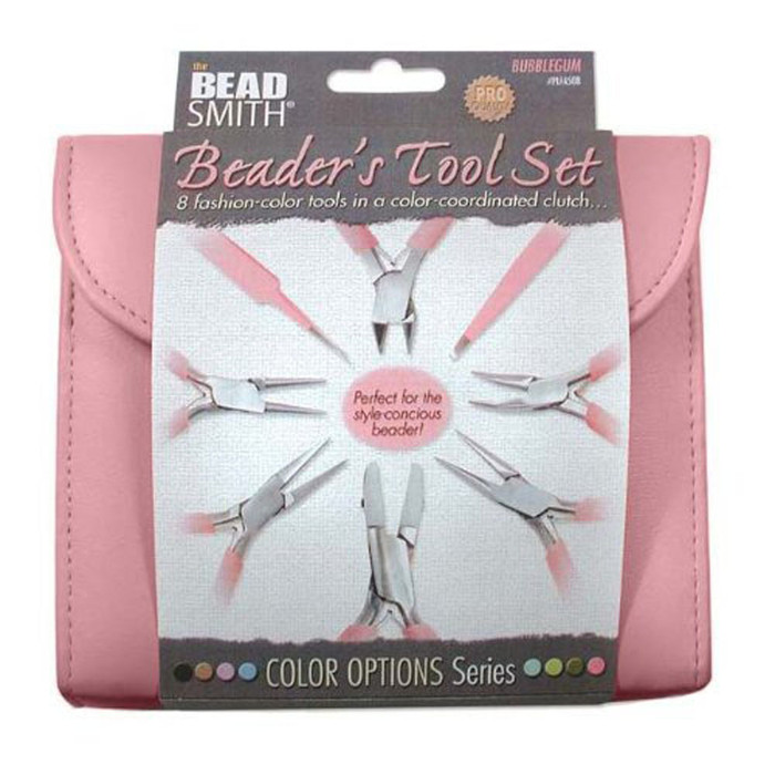 Beadsmith 8 Fashion Pink Color Tool Set for Making Jewelry +Clutch Carry Case