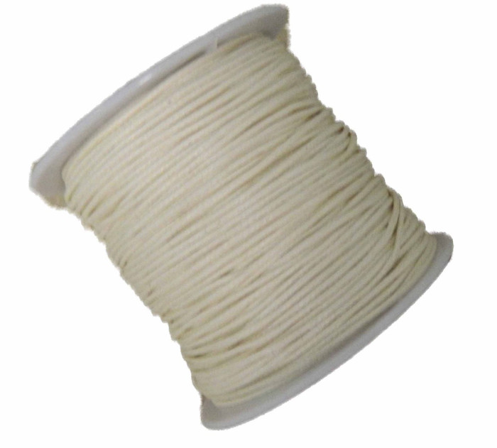 1mm Waxed Cotton Jewelry Macrame Craft Cord 80 Yards Wolven Round Off White