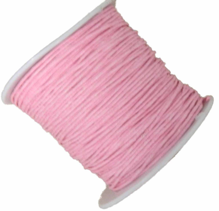 1mm Waxed Cotton Jewelry Macrame Craft Cord 80 Yards Wolven Round Pink