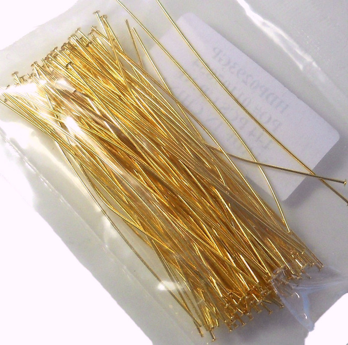 144 Head Pins 029dia X 3 Inch Gold Plated St ard 21 Gauge Wire