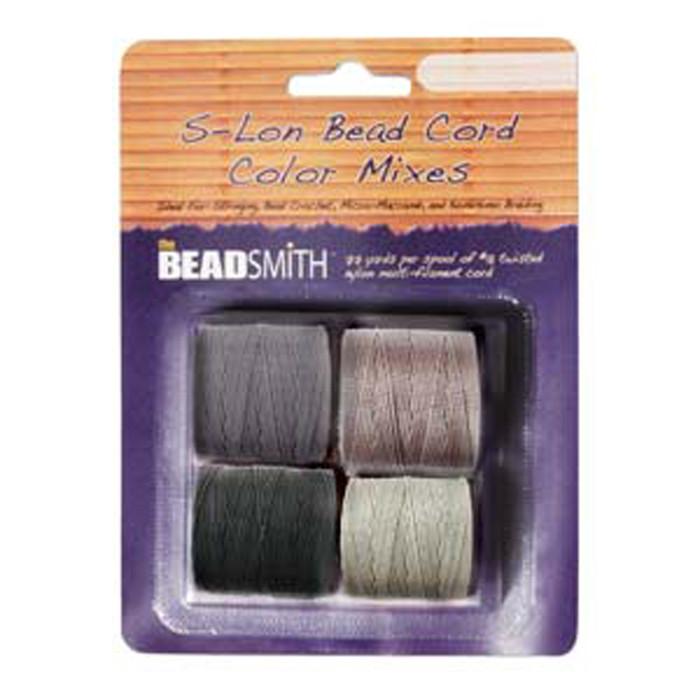 4 Spools Super-lon #18 Nylon Beading Jewelry Stringing Cord S-lon Cool Neutrals Mix