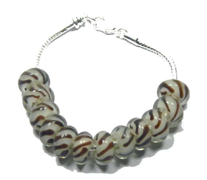 12 Beads Lampwork Glass Large 5.2mm Hole 7 3/4 Inch Easy Fit Bracelet