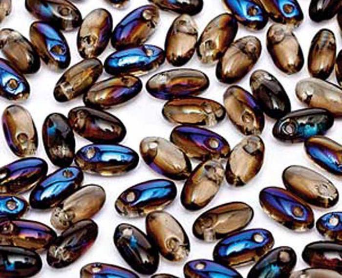 Black Diamond Azuro 2.5x6mm Rizo Beads Czech Glass Seed Beads 22 Gram Tube