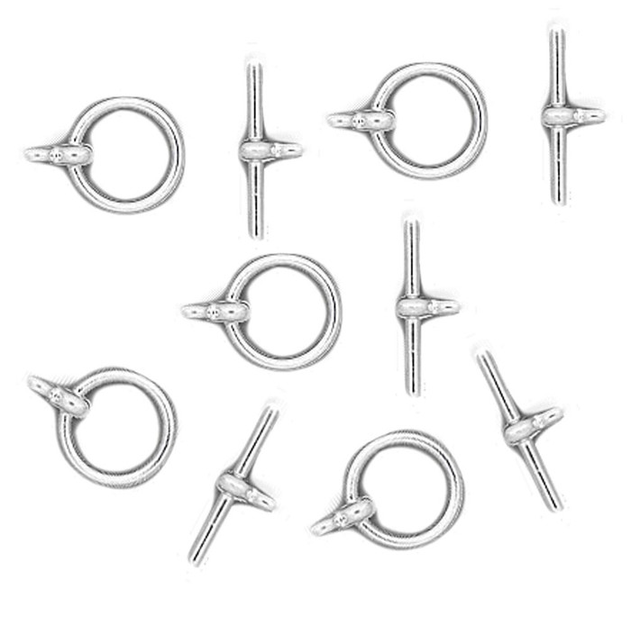 19 Shiny Silver Plated Brass Jewelry Toggle Clasps 12mm Basic Findings