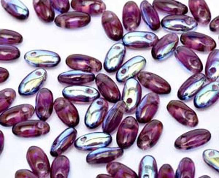 Ameythist AB 2.5x6mm Rizo Beads Czech Glass Seed Beads 22 Gram Tube