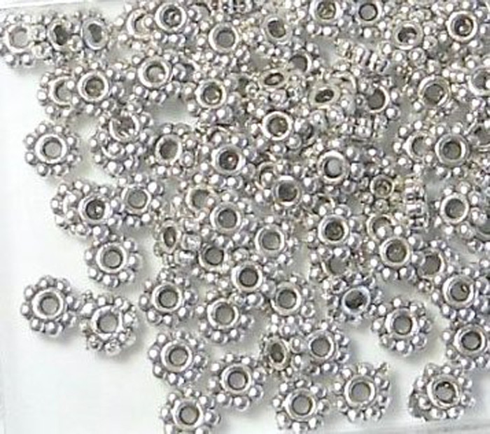 500 Antiqued Silver Plated Pewter Beads 5x2mm Rondelle Daisy 1.5mm Hole