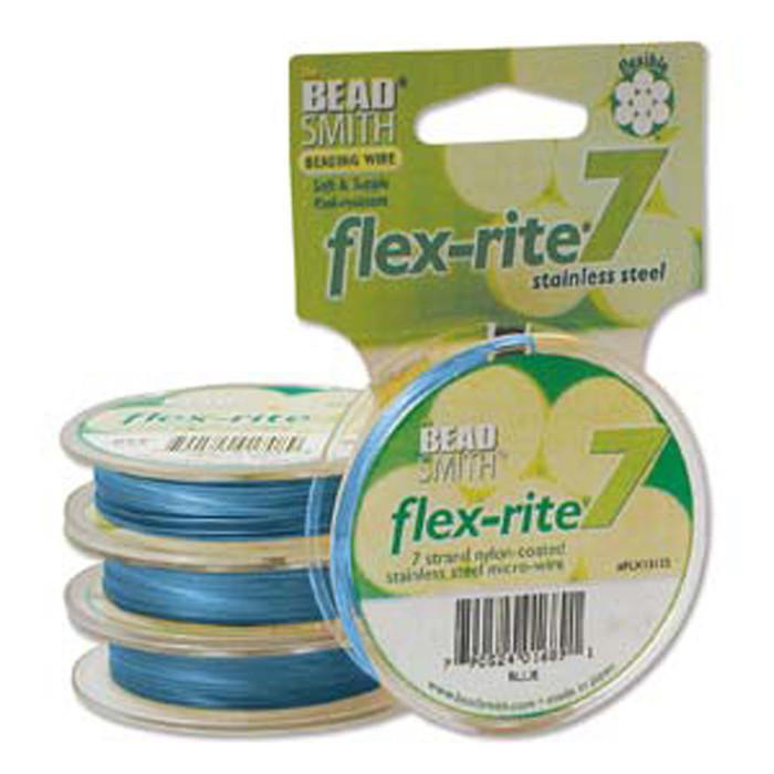 """Blue Flex Rite Beading Wire .018"""" 30' 7 strand 20.6lb Break"""