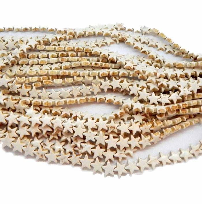 "12mm Stars Magnesite White Buffalo  Beads 15""  Strand Losse Beads"
