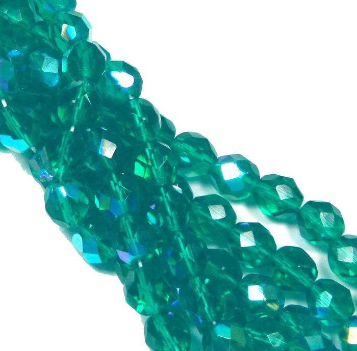 24 Firepolish Faceted Czech Glass Beads 8mm AB Lt Teal