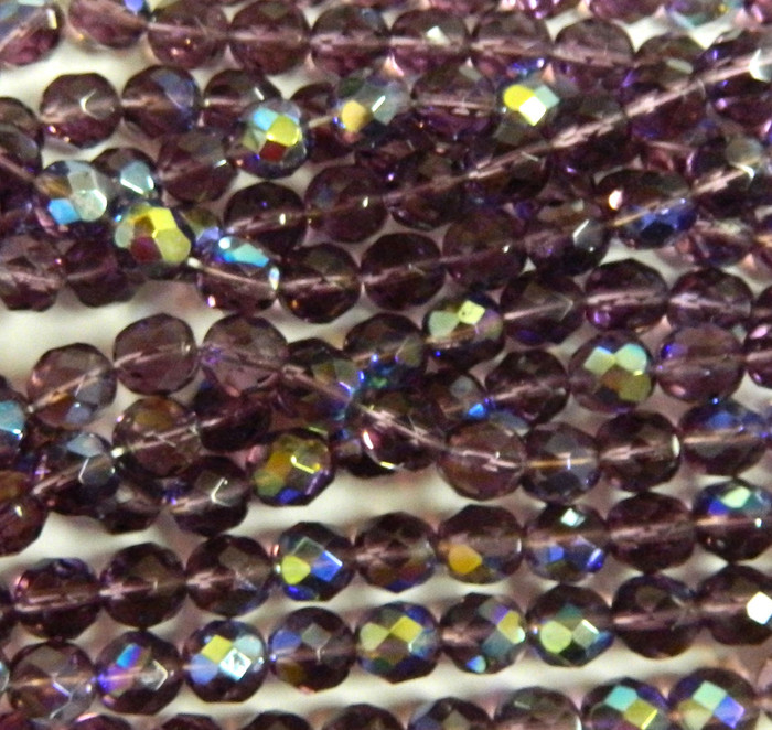 24 Firepolish Faceted Czech Glass Beads 8mm AB Amethyst