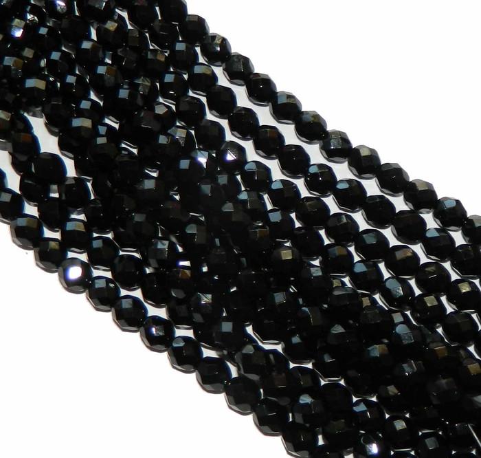 24 Firepolish Faceted Czech Glass Beads 8mm Jet