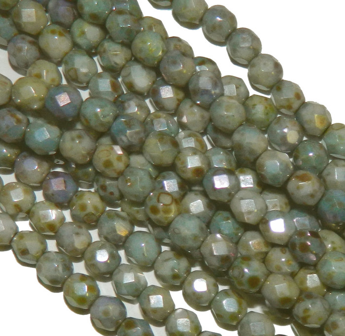 24 Firepolish Faceted Czech Glass Beads 6mm  Luster Opaque Green