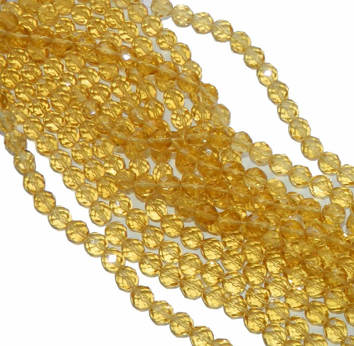 48 Firepolish Faceted Czech Glass Beads  4mm Light Topaz