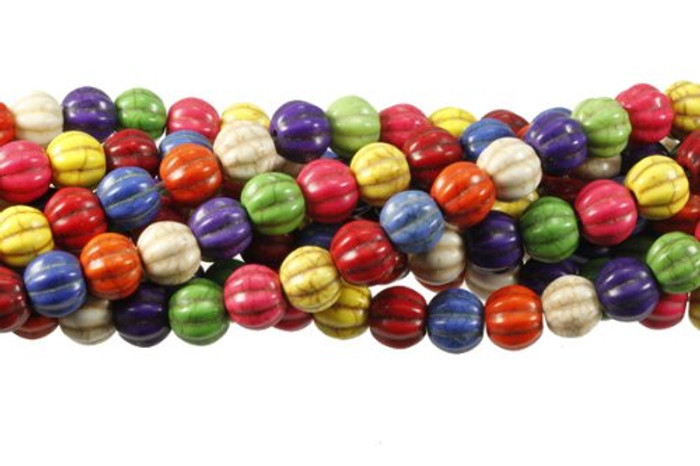 """10mm Round Melon Fluted Chalk Turquoise Dyed/Stabilized Mix  Beads 15"""""""