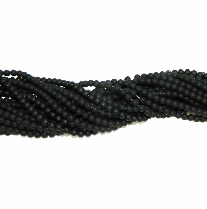 "6mm Black Agate Manmade Glass beads Round Beads 15"" Loose Strand"