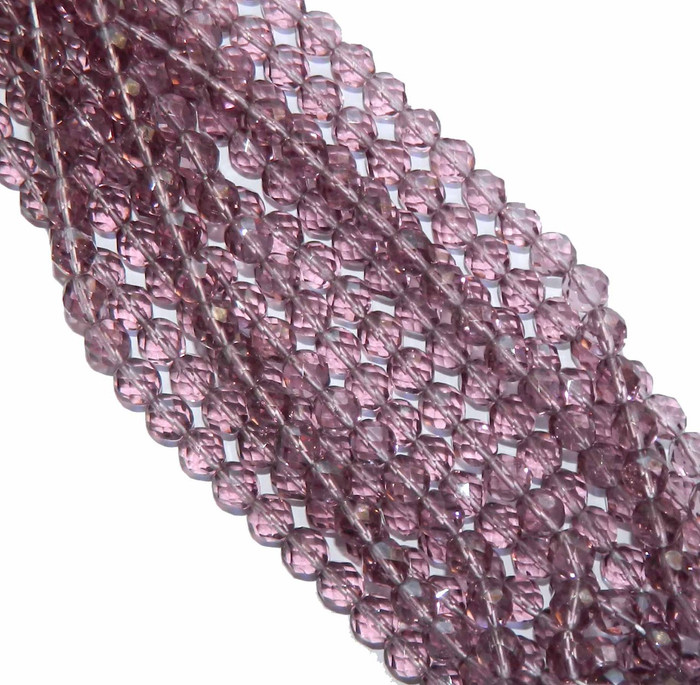 48 Firepolish Faceted Czech Glass Beads 4mm Light Amethyst