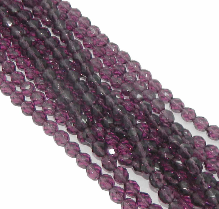 48 Firepolish Faceted Czech Glass Beads 4mm Medium Amethyst