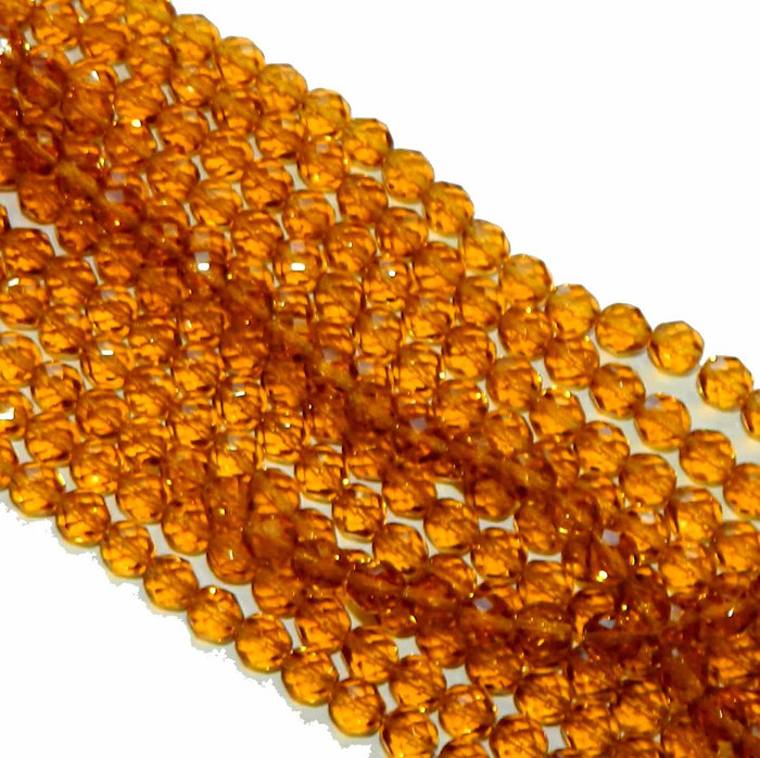 24 Firepolish Faceted Czech Glass Beads 6mm Dark Topaz