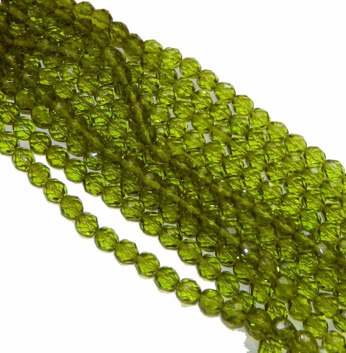 48 Firepolish Faceted Czech Glass Beads 4mm Olivine
