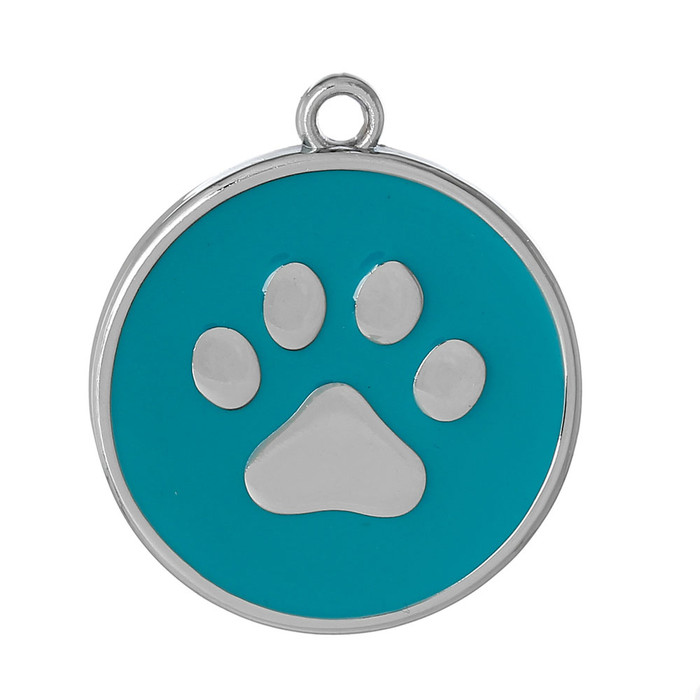 10 Turquiose Paw Pendants 30mm Round with 2.5mm Hole