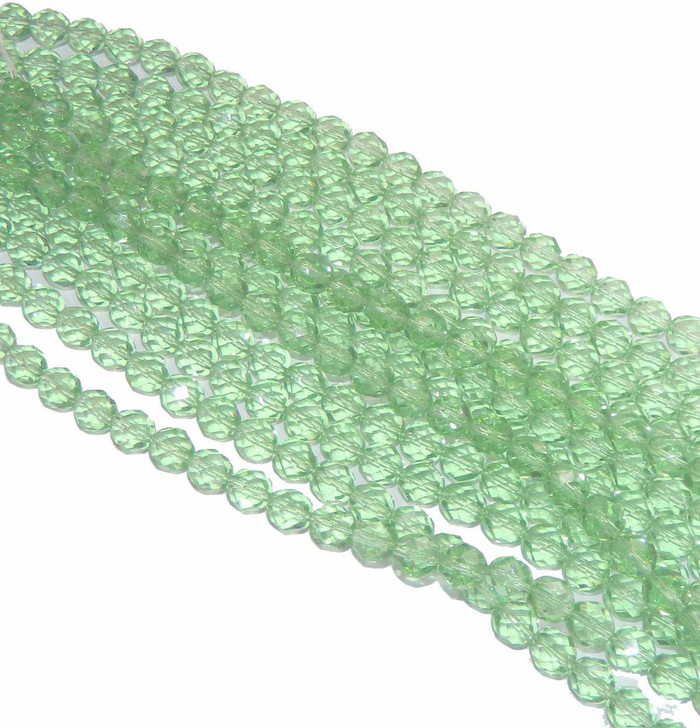 48 Firepolish Faceted Czech Glass Beads 4mm Peridot