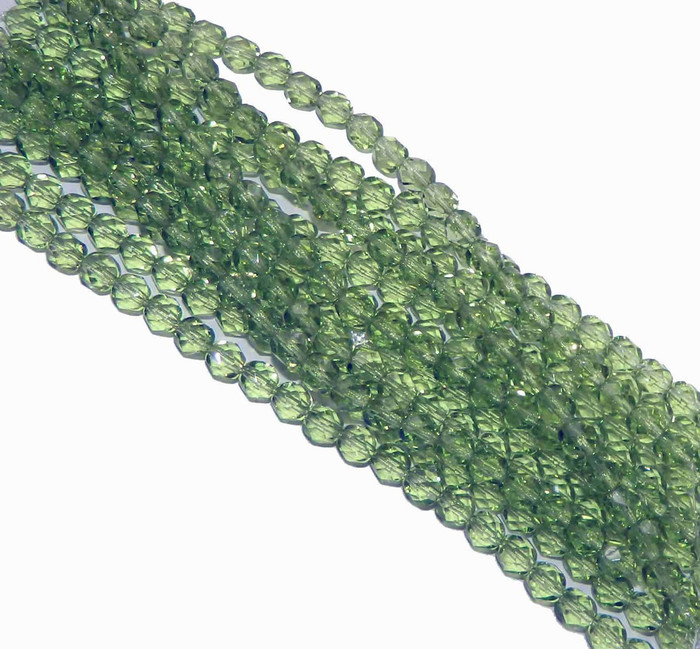 48 Firepolish Faceted Czech Glass Beads 4mm Prairie Green
