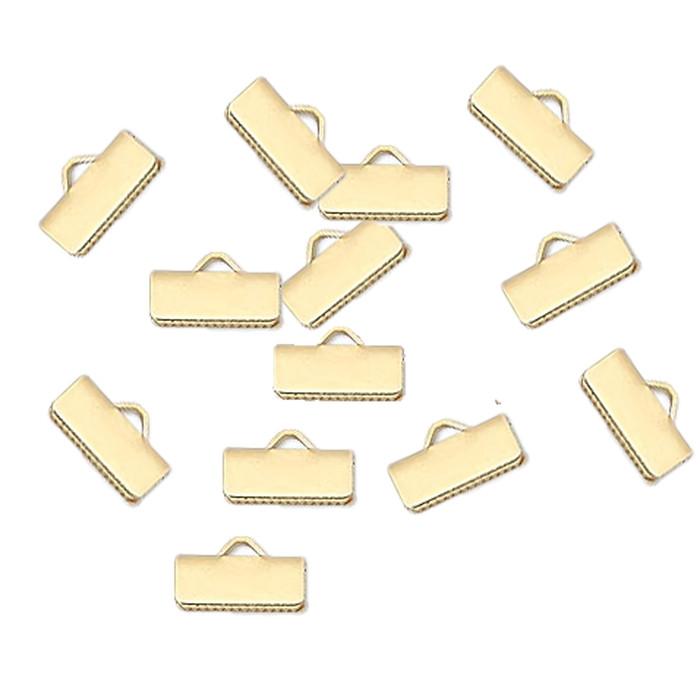 13x5mm Smooth 48pc Gold Plated Brass Ribbon Bracelet Bookmark Pinch Crimp