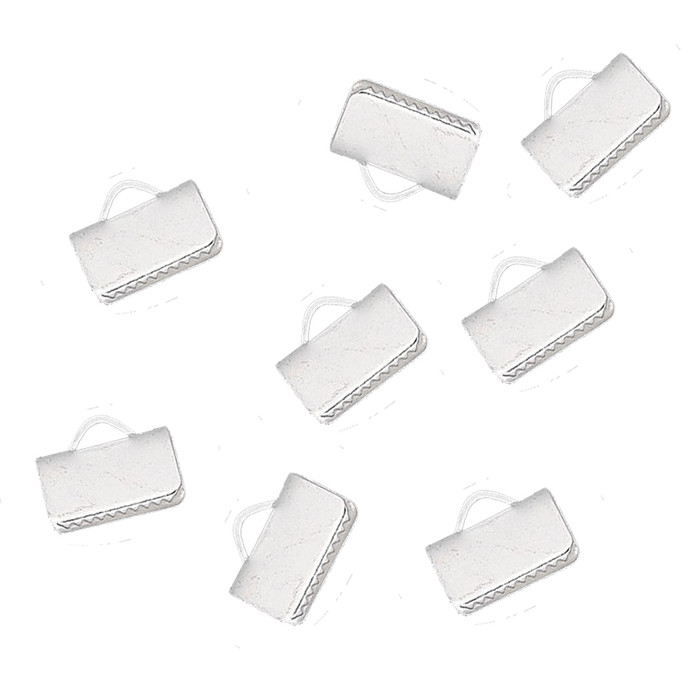 10x5mm Silver Plated Brass Smooth Ribbon crimp 48pc