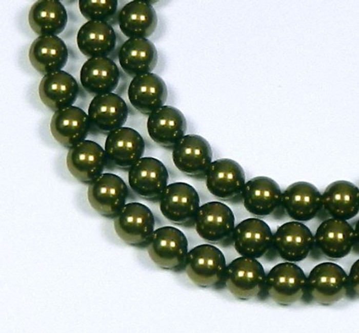 "100 Swarovski Crystal Pearls 4mm Round Beads 5810. 16"" Loose Strand Dark Green"