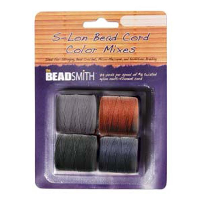 4 Spools Super-lon #18 Nylon Beading Jewelry Stringing Cord S-lon Stone Mix