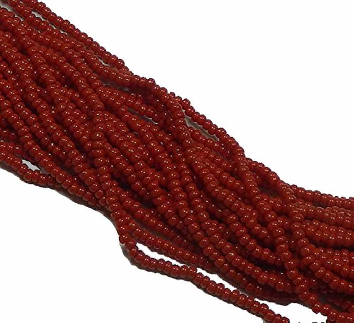 Dark Red Opaque Preciosa Czech Glass 6/0 Seed Bead on Loose Strung 6 String Hank