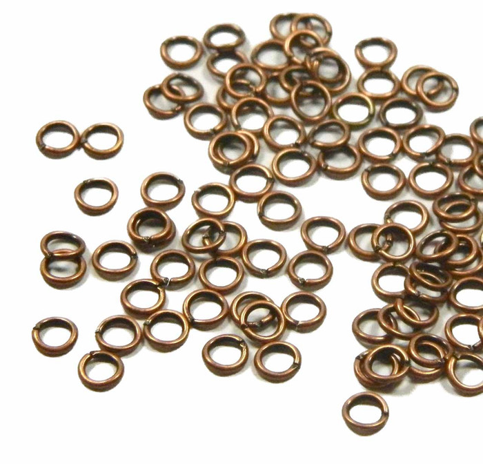 100 Jump Rings, Antiqued Copper-plated Brass, 4mm Round, 22 Gauge Open